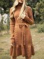 Turtleneck Dress Flounce Knitted Plain Sweater Dress
