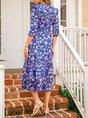 V Neck Swing Polyester Cotton Ruffled Dress