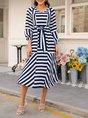 Vintage Swing Long Sleeve Stripes Dress