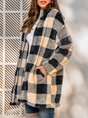 Shawl Collar Casual Checkered/plaid Long Sleeve Coat