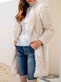 Casual Long Sleeve Shift Shawl Collar Outerwear