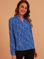 Blue V Neck Vintage Floral Top