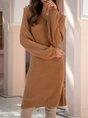 Long Sleeve  Solid V Neck Sweater Dress