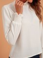 White Turtleneck Long Sleeve Casual Top
