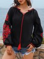 Long Sleeve Polyester Cotton Floral Blouse