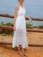 V Neck Casual Paneled Midi Dress