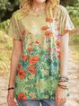 Khaki Short Sleeve Cotton-Blend Casual Top