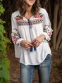 Embroidered Long Sleeve Boho Cotton Top