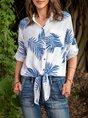 Cotton-Blend Casual Shirt Collar Floral Top