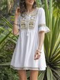 Cotton Embroidered Swing Boho Dress