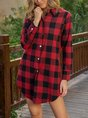 Checkered/plaid Shawl Collar Long Sleeve Casual Top