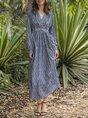 V Neck Sweet Cotton-Blend Dress