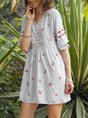 Swing Half Sleeve Embroidery Casual Dress