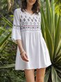 V Neck Shift Daily Cotton Floral-Embroidered Dress