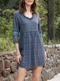 Half Sleeve Cotton-Blend Casual Printed Dress