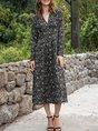 V Neck Shift Daily Floral Midi Dress