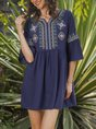 Embroidered 3/4 Sleeve Cotton Dress