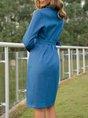 Shawl Collar Long Sleeve Elegant Shift Dress