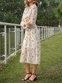 Floral A-Line Long Sleeve Elegant Dress