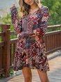 V Neck Shift Daily Casual Mini Dress
