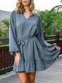 Long Sleeve Daily Shift V Neck Mini Dress